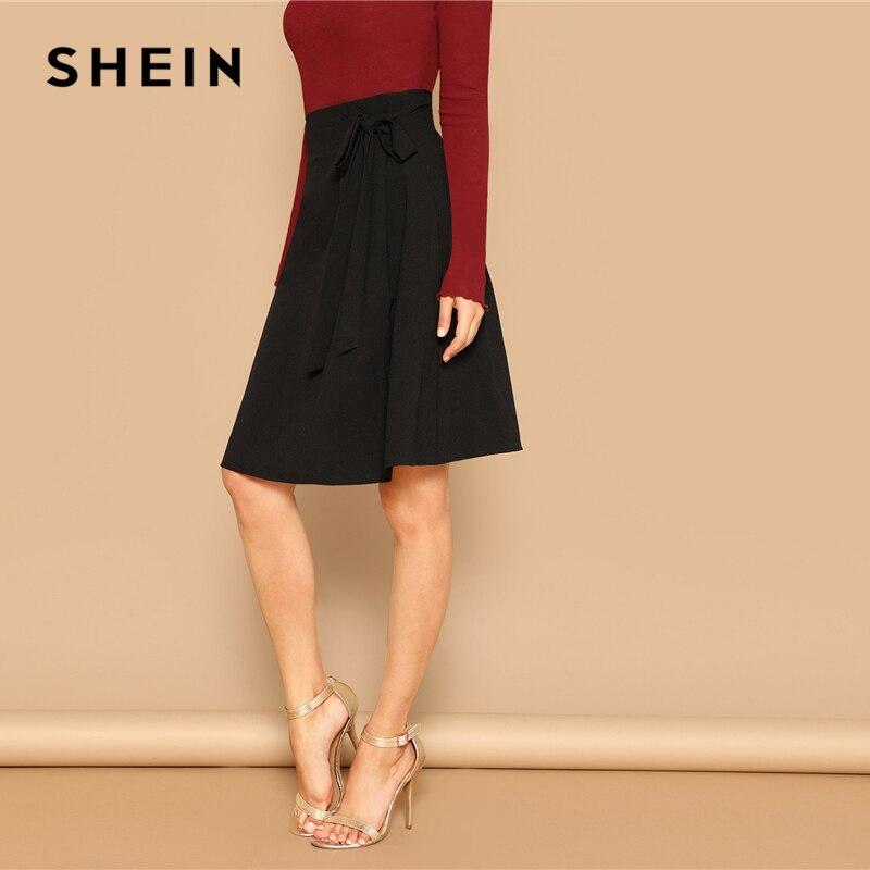 SHEIN Black Knot Side Solid High Waist A Line Knee-Length Skirt Women Office Lady Spring 2019 Summer Elegant Workwear Skirts 2