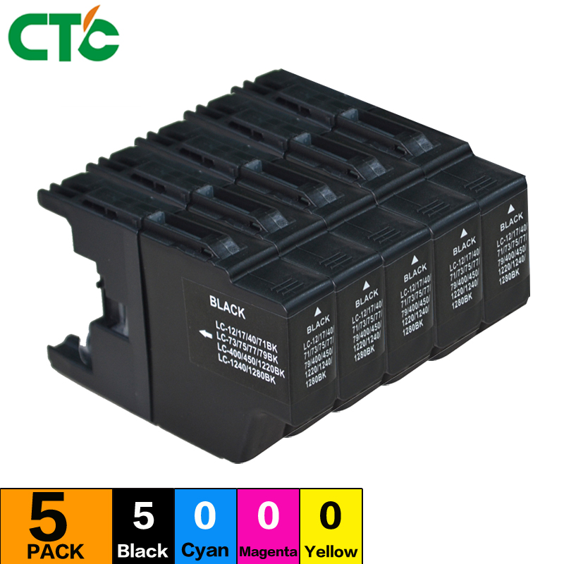 5black Compatible Ink Cartridge for LC12 LC40 LC71 LC73 LC75 LC400 LC1220 LC1240 For Brother Printer ink MFC-J6910CDW J6710CDW
