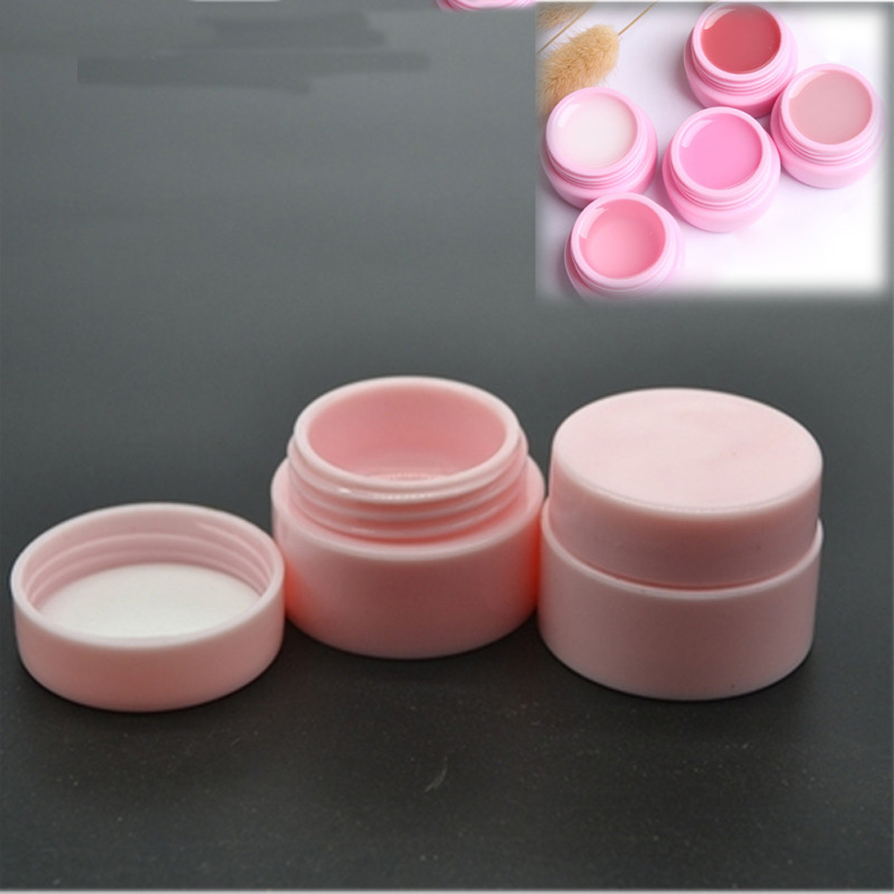 10 Pcs/lot 5g Plastic Cosmetic Empty Jar Pot Box Nail Art Gel Powder Bead Storage Container Round Pink Makeup Tools Portable