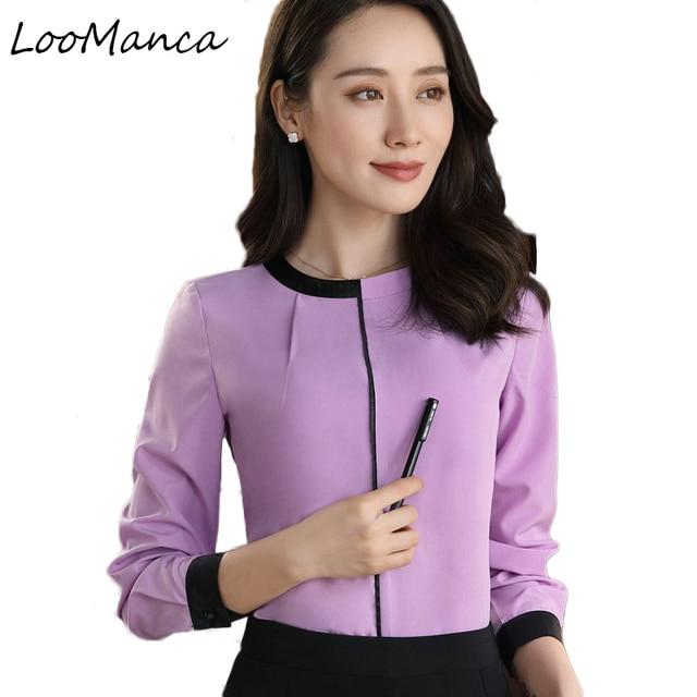 67bbc6c56d7 Plus size 4XL korean OL style long sleeve women shirt temperament elegant  slim simple chiffon blouse office ladies work wear top