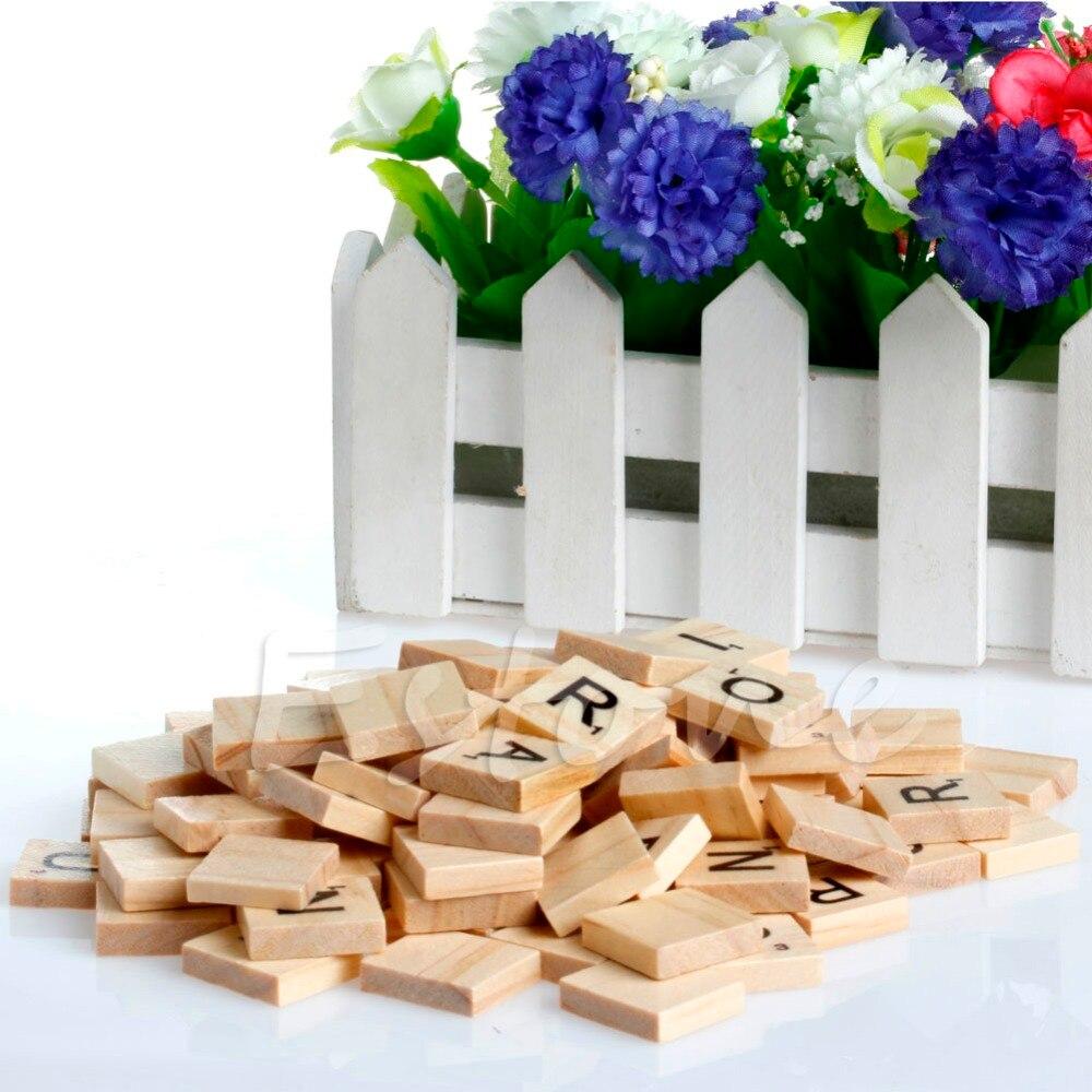 100x деревянный scrabble Плитки черными буквами алфавита и номер ремесло древесины Настольная игра W15