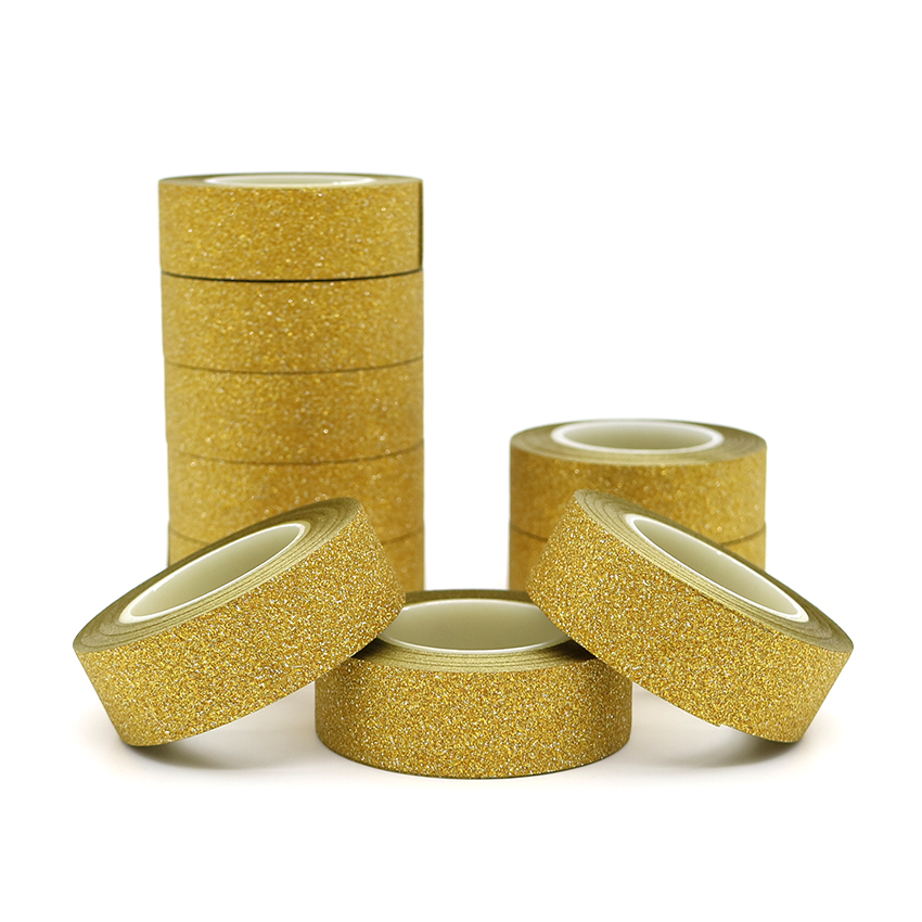 10m*15mm Creative Golden Washi Tape Glitter Flash Stickers DIY Album Decoration Adhesive Hand Account Tape Masking Tape 1 PCS