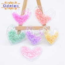 12Pcs Kawaii Heart Pads Appliques Accessories for DIY Hairband Transparent Leather Patches with Bling Loose Star Sequins