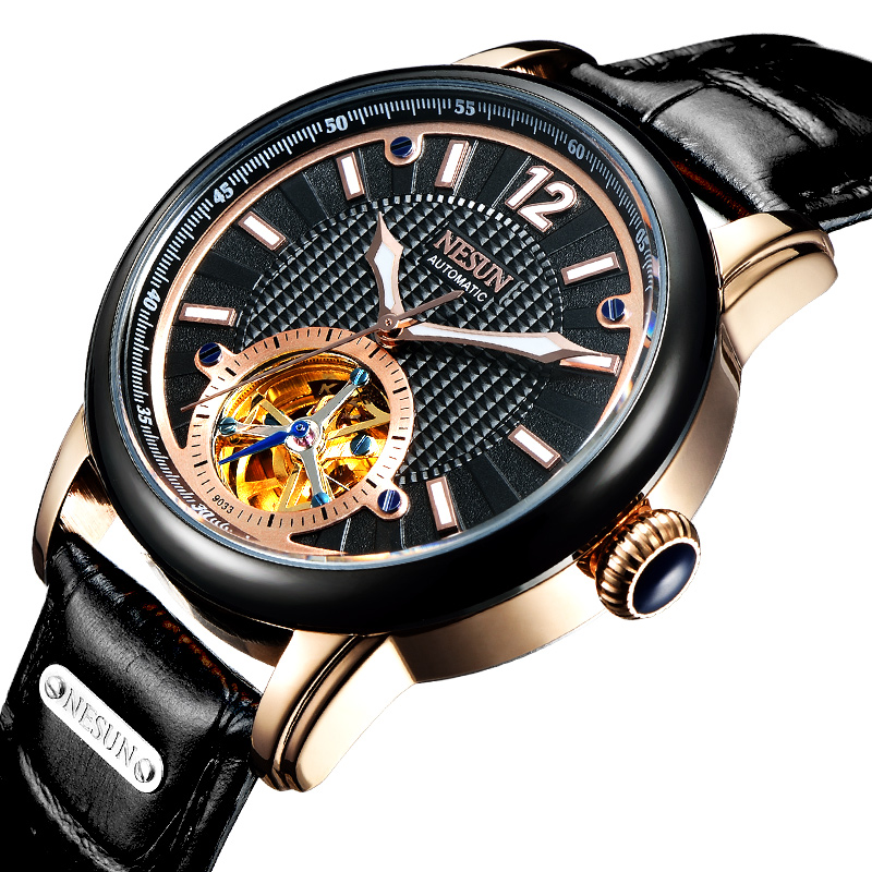 Switzerland Luxury Brand Nesun Skeleton Tourbillon Watch Men Automatic Self-Wind Men's Watches Genuine Leather clock N9033-6 ailang brand men automatic self wind watches leather skeleton tourbillon mechanical clock male rose gold shell watch new