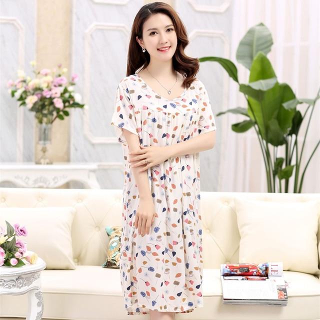 فستان نوم نسائي حوامل صيفي مقاس كبير ثوب نوم فضفاض L 5XL قمصان نوم نسائية