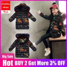 2019 moda dla dzieci kurtki dla dziewczynek nastoletnie rosyjskie zimowe płaszcze parki dla dziewczyny futro kurtka z kapturem koreański ubrania