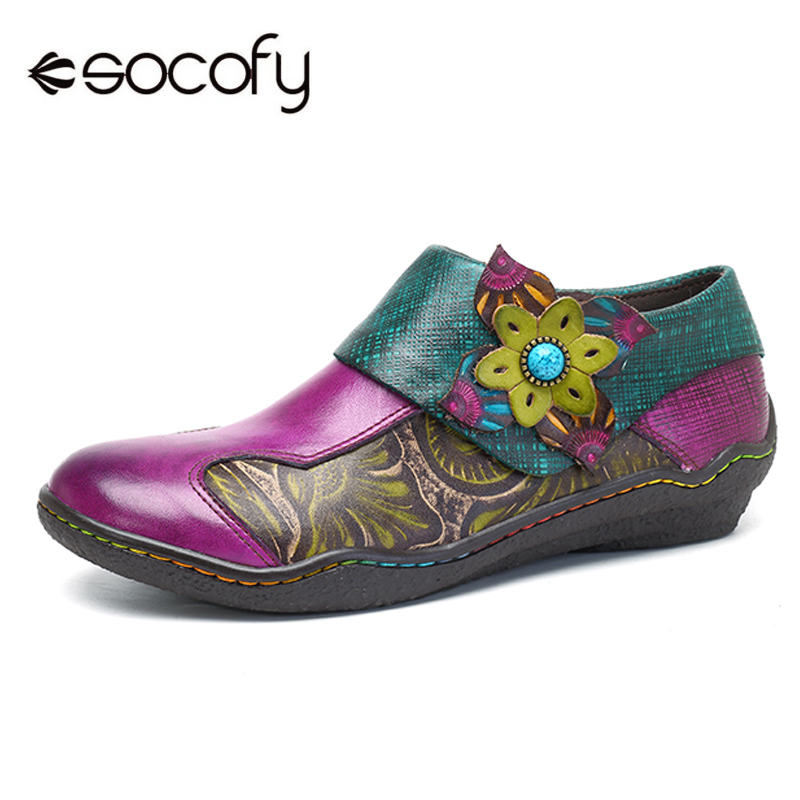 Socofy Bohemian Flat Shoes Women Summer Vintage Printed Genuine Leather Flats Zipper Casual Shoes Woman Sneakers Spring Fall New