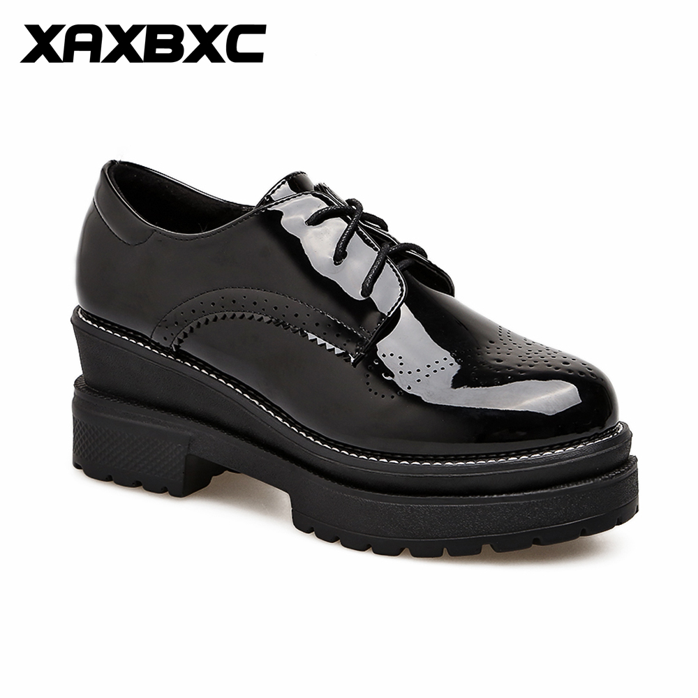 XAXBXC 2018 Retro British Spring Black patent leather Brogue Platform Lace-Up Oxfords Women Shoes Handmade Casual Lady Shoes padegao brand spring women pu platform shoes woman brogue patent leather flats lace up footwear female casual shoes for women