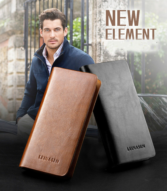 LEINASEN 2017 New fashion men wallet PU leather purse and handbags for male luxury brand zipper men clutches free shipping