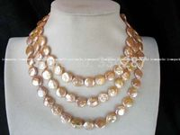 10x10 jewerly freeshipping freshwater pearl coin pink 10 11mm necklace 47