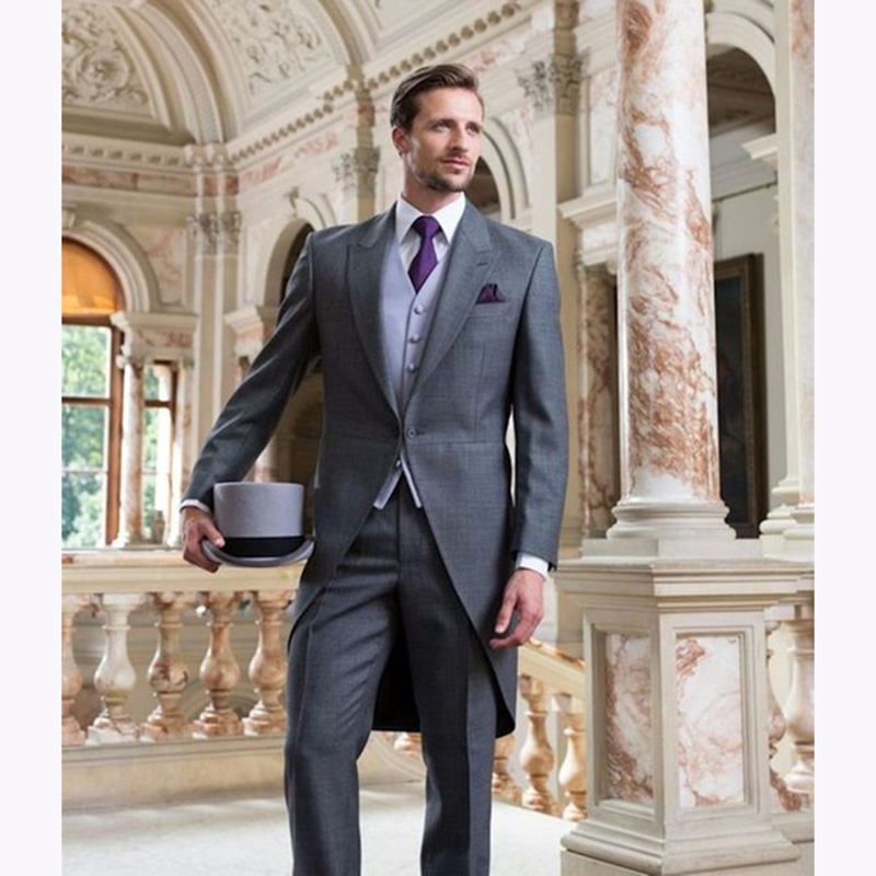 Latest Design grey Mens Dinner Party Prom Suits Groom Tuxedos terno masculino Wedding Blazer men Suit (Jacket+Pants+Vest+Tie)