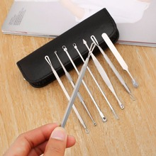8 Pcs Blackhead Remover Tool Kit Pimple Acne Clip Needle Face Care Comedone Blemish Blackhead Extractor Tool with Leather Case new 6pcs blackhead remover tool set blemish pimple acne extractor tweezers stainless steel needles kit with leather case mirror