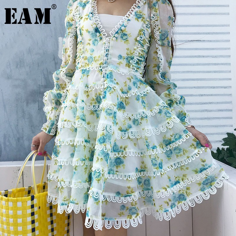 EAM High Quality 2019 Spring Fashion New Sweet V Collar Lantern Long Sleeve Print Flower