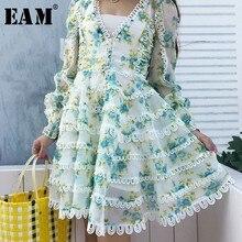[EAM] High Quality 2019 Spring Fashion New Sweet V Collar Lantern Long Sleeve Print Flower Women's A-line Dress Tide YC780