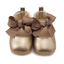 Criança do bebê menina macio sapatos de plutônio arco bandagem infantil princesa prewalker 0-18m novo