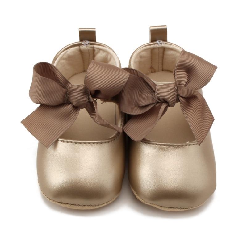Criança do bebê menina macio sapatos de plutônio arco bandagem infantil princesa prewalker 0-18 m novo