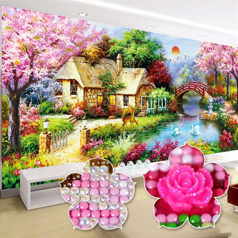 5d diy diamante completo bordado casa de campo decoração para casa sala estar paisagem nova especial em forma diamante pintura 60 cores