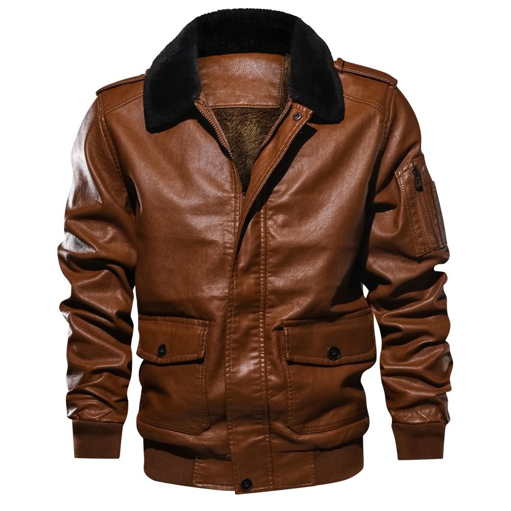 Jacken & Mäntel Winter Casual Slim Fit Pelz Kragen Dicken Leder Jacke Pu Faux Leder Plus Größe Motercycle Bomber Jacken