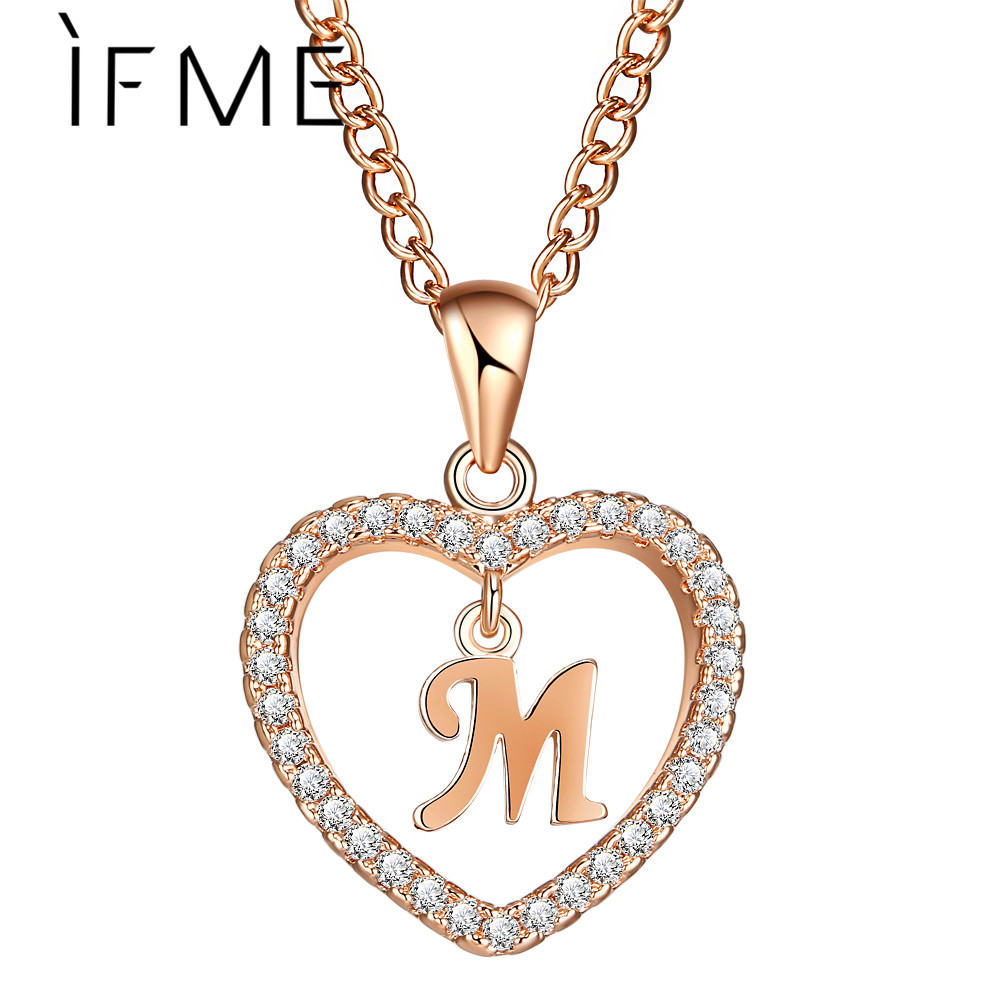 IF ME Initial Letter M Cubic Zirconia Heart Crystal Women Charms Statement Necklaces & Pendants Gold Silver Color Jewelry Gifts letra g bem bonita