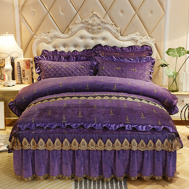 Luxury royal Bedding Set queen king size Crystal velvet bed set bedspread pillowcase Bed Skirt/linen Duvet Cover set for winter