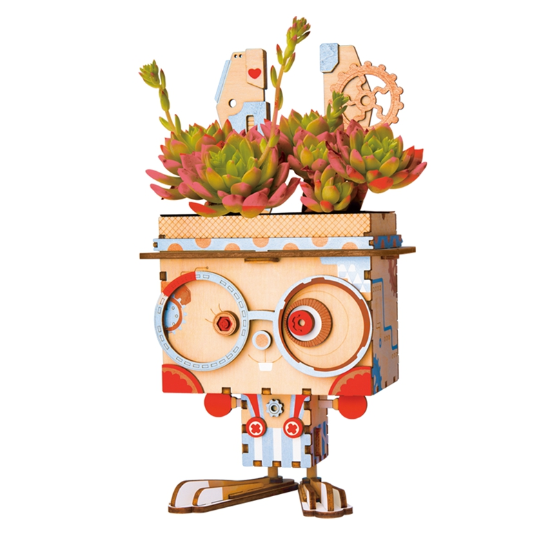 Robotime Children Adult Lindo Bunny Flower Pot 3D Puzzle de Madera - Juegos y rompecabezas