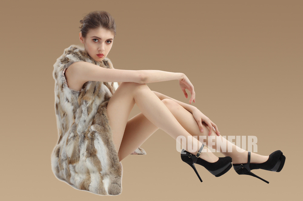 Женский вязаный жилет из натурального кроличьего меха, новинка, модное женское пальто без рукавов с капюшоном Md-long, тонкая теплая куртка ZL3322 - Цвет: grass yellow
