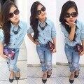 2015 muchachas de los niños de la ropa para la primavera otoño denim moda jeans + camisa de la muchacha del niño ropa para 2 - 7 T