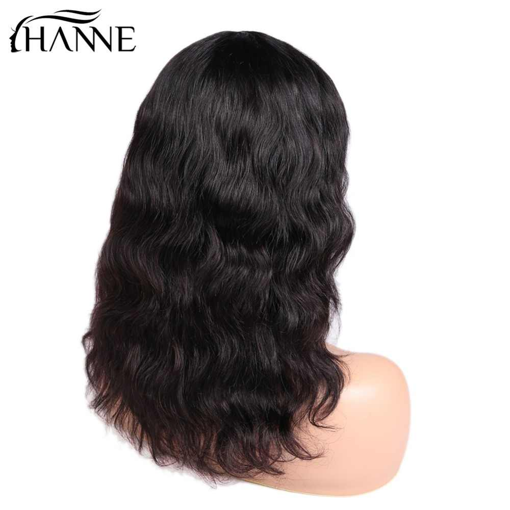HANNE волосы Бразильский Натуральный волнистый Remy человеческие парики для черных женщин 150% плотность волос парики с челкой натуральный черный цвет