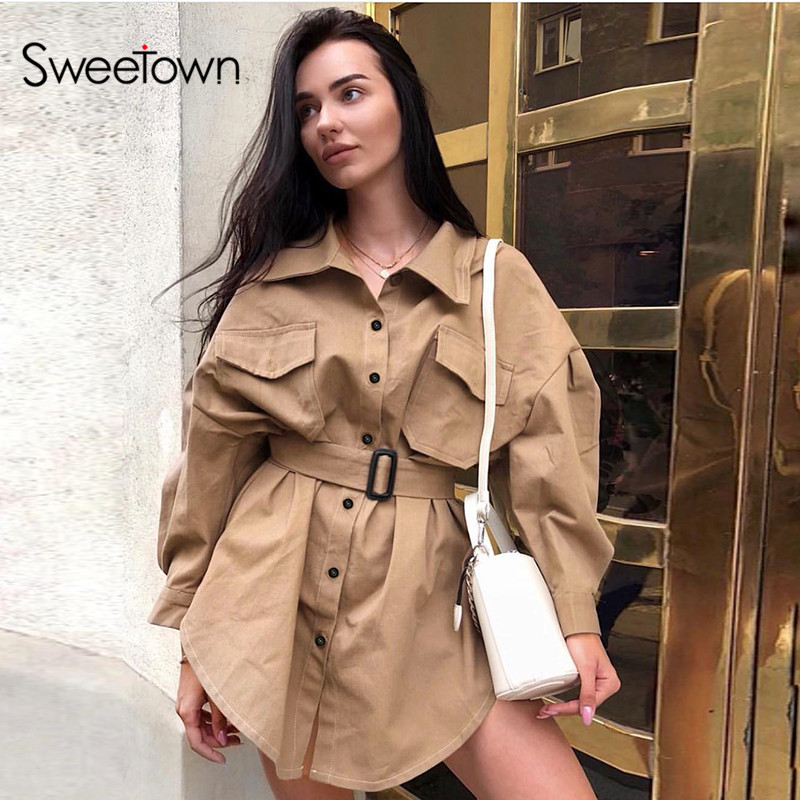 Sweetown England Style Trench Coat For Women Fashion Streetwear Sashes Korean Clothes Cotton Long Sleeve Autumn Winter Long Coat