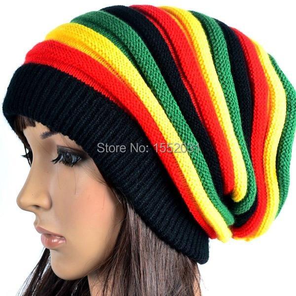 Bob Marley Jamaican reggae cap Multi-colour Striped Rasta Hat Slouchy  Baggie Beanie Skullies Gorro rasta WomenEM-S22 2c9c1986149