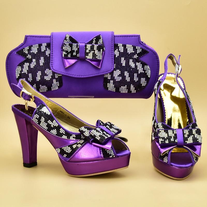 Et Sexy Appliques sky Chaussures Correspondant Ventes Bleu Décoré Sacs Talons gold Blue Femmes En Africain purple De Ensemble Nouveauté Avec XPO4apwP