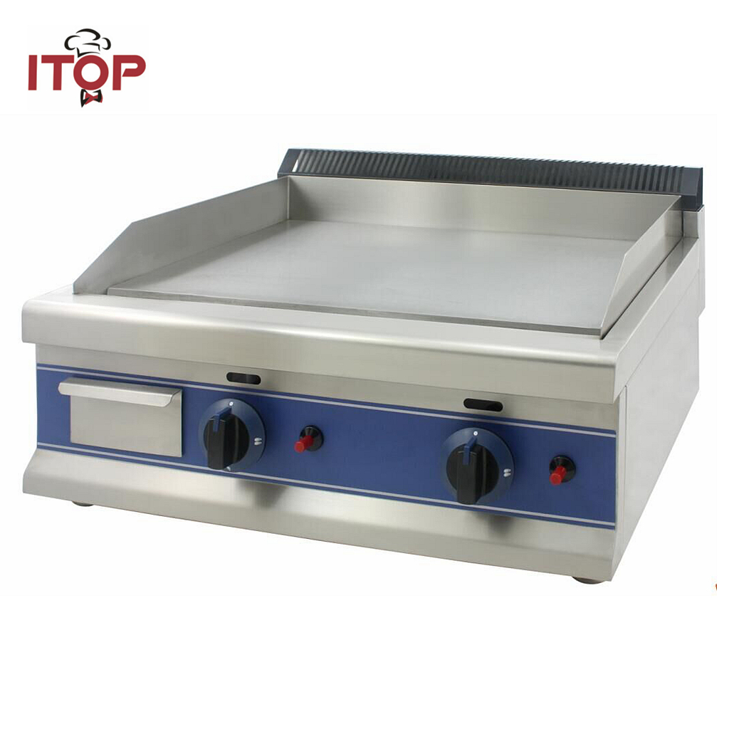 ITOP Gas Griddle BBQ Hot Plate 201# Stainless Steel 12mm All flat plate Two Burners with independent control