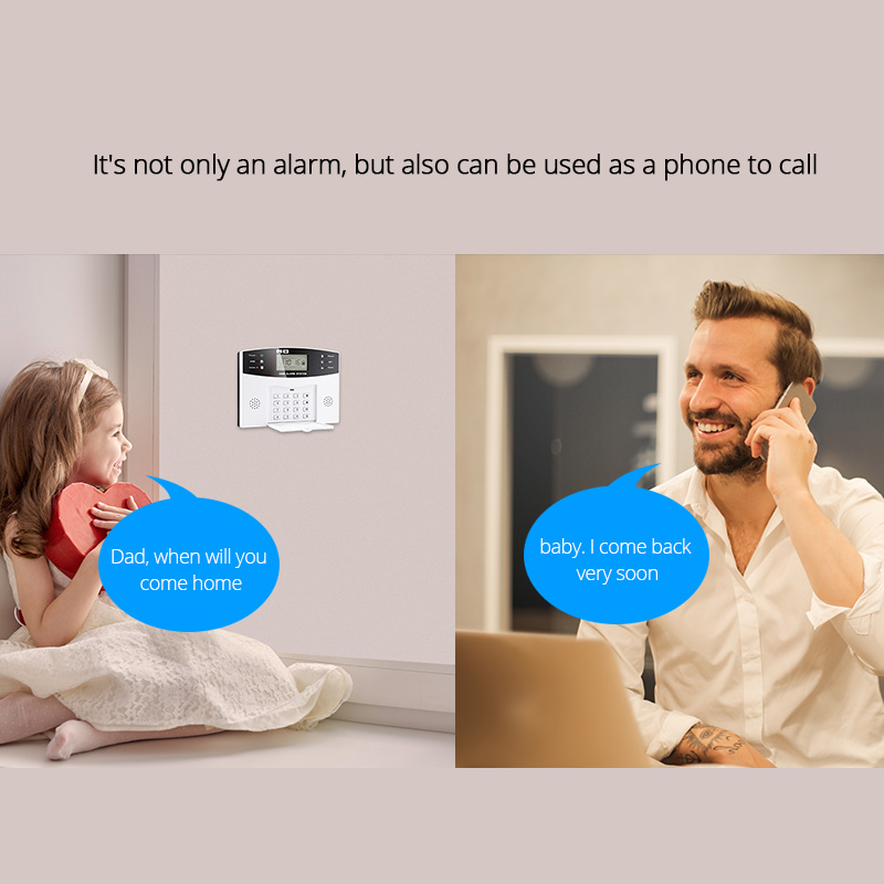 DP500Home Security Alarm systems Metal Remote Control Voice Prompt Wireless Door sensor LCD Display Wired Siren Kit SIM SMS GSM in Alarm Host from Security Protection