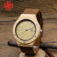 SIHAIXIN Top Designe Wooden Watch Men Unique 100 Nature Wooden Handmade Quartz Wrist Watch Male