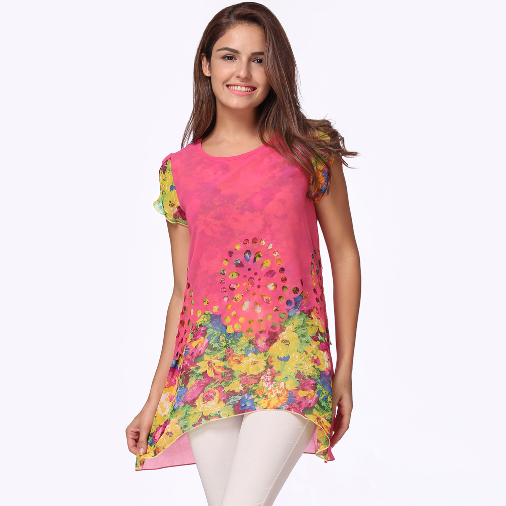 New Fashion Women Chiffon Blouse Floral Printed Hollow Out Overlay Blouses Short Petal Sleeves Round Neck Elegant Soft Tops