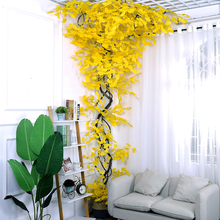 Artificial leaves golden ginkgo bouquet wall decor artificial plants wedding decoration fake plastic tree branches