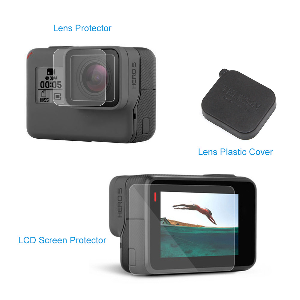 TELESIN-3pcs-LCD-Screen-Protectors-3pcs-Lens-Protectors-Film-Lens-Cap-Cover-Pack-of-7-for