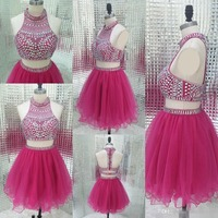 Real Photo Sparkly Two Piece Homecoming Dresses 2019 Vintage Fuchsia Short Prom Dress Junior Ball Gowns Tulle Graduation Gowns