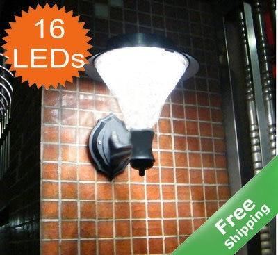 Solar wall lamp+100% solar power+16 LEDs+White/Yellow white LEDs+2pcs/lot+Free shipping
