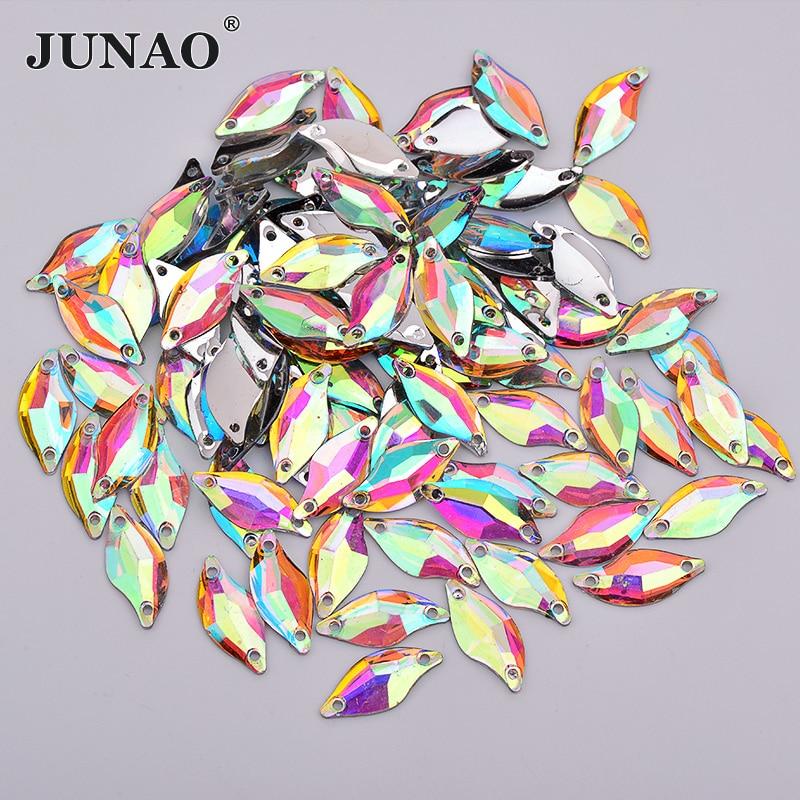 JUNAO 100 шт. 9 * мм 20 мм Вышивание кристалл AB Стразы «лошадиный глаз» плоской задней смолы Самоцветы Необычные хрустальные камни для DIY платье ремесла