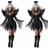 2016 Women Sexy Black Devil Demon Angel Cosplay Costume Fancy Dress Halloween Outfit Wing Headband