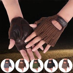Image 2 - Gants en cuir véritable pour hommes et femmes, demi doigts, accessoires tricotés à la main, de conduite, de sport de plein air, A088