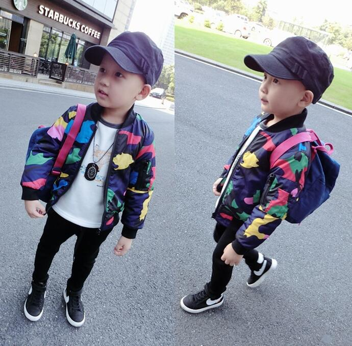 The new baby boy girl coat Korean jacket camouflage jacket Baseball Jacket