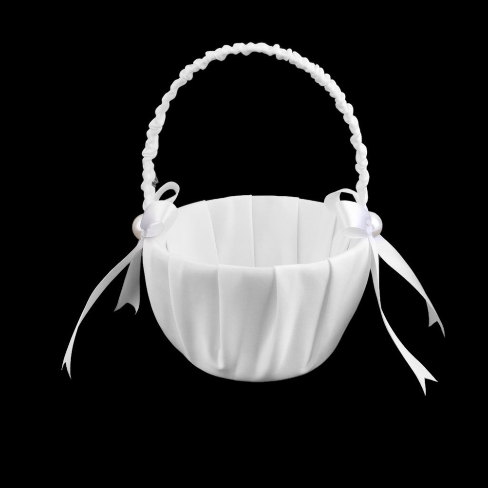 Satin Wedding Flower Girl Basket Faux Pearl Ribbon Bowknot Elegant