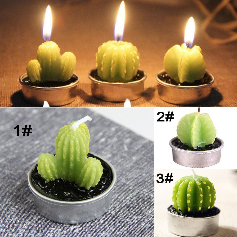 6pcs/set Home Decor Rare Mini Cactus Candle Table Tea Light Home Garden Simulation Plant Candle Decorative Wedding Candles To Clear Out Annoyance And Quench Thirst Home Decor Candles & Holders