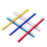 10pcs/lot 2.54mm Black + White + Red + Yellow + Blue Single Row Male 1X40 Pin Header Strip Gold-plated ROHS