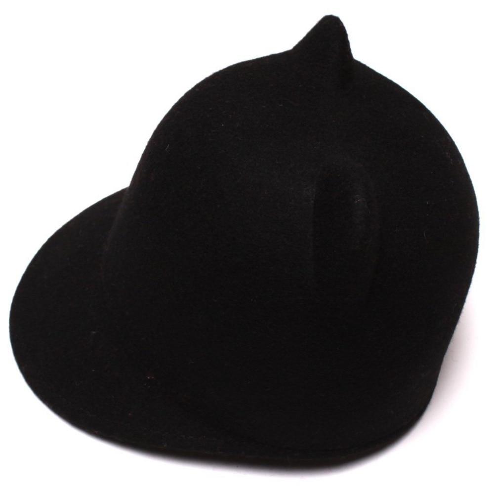 9c116df8658 2017 Fashion 100% Wool Child Fedora Hat Girl Winter ear hat Devil Horns  Cute Cat ear animal Derby Bowler lovely Cap Size 52-54CM