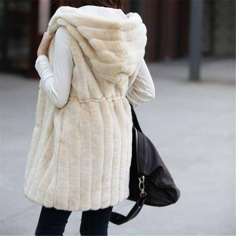 Colete De Pele Feminina Новая модная шуба из искусственного меха Зимний женский жилет из кроличьего меха размера плюс M-XXXL жилет из искусственного меха с капюшоном - Цвет: beige