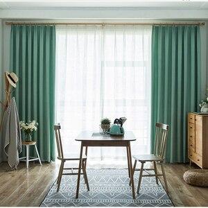 Image 2 - Cortinas opacas de Color turquesa para dormitorio, decoración de oficina, moderna, para ventana, sala de estar