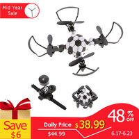 Foldable Mini Drone With HD Camera Watch Remote Control Football Quadcopter Drone Headless Mode Toys for Boys Kids #E